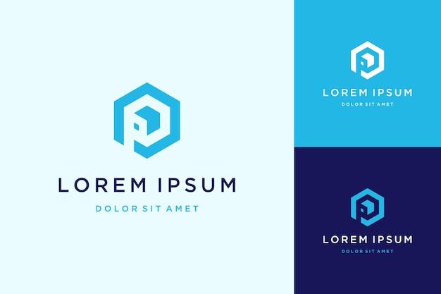 Nowoczesny design logo lub monogram lub początkowa litera p z sześciokątem