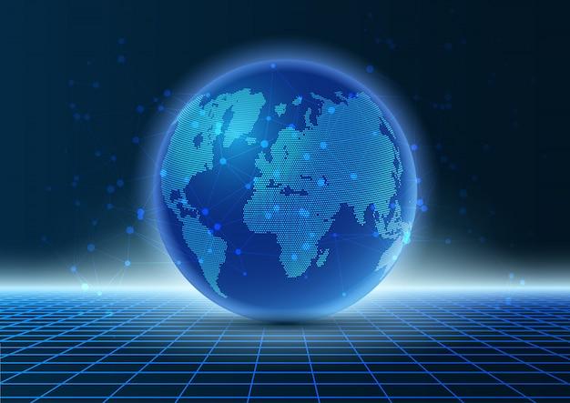 Nowoczesny design techno z globusem na siatce