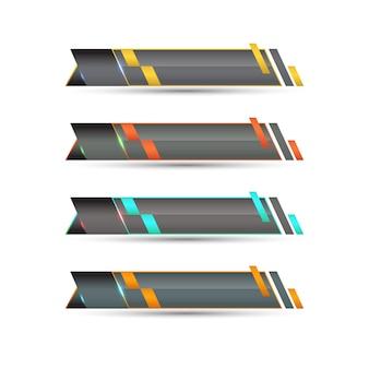 Nowoczesny dolny trzeci szablon w czterech kolorach