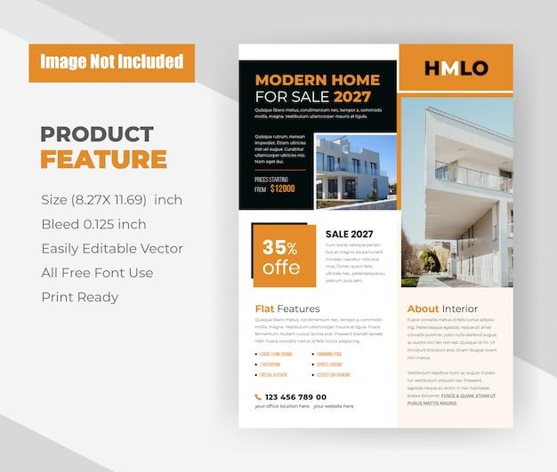 Nowoczesny dom na sprzedaż koncepcja szablon ulotki