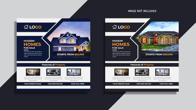 Nowoczesny dom na sprzedaż nieruchomości social media post design pack z niebieskimi i jasnoróżowymi abstrakcyjnymi kształtami.