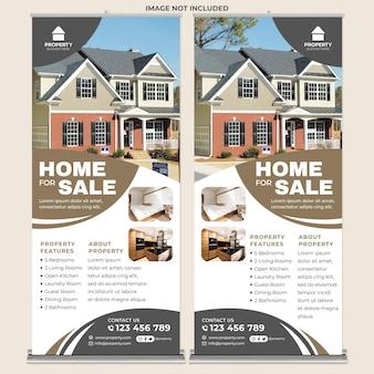 Nowoczesny dom na sprzedaż roll up banner print template w nowoczesnym stylu projektowania