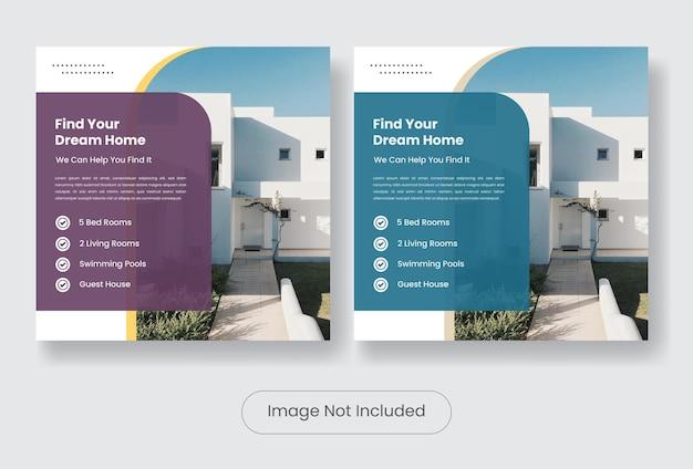 Nowoczesny dom na sprzedaż social media post szablon transparent zestaw.