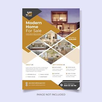 Nowoczesny dom na sprzedaż szablon ulotki a4