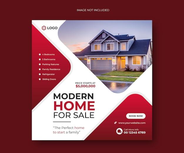 Nowoczesny dom na sprzedaż w mediach społecznościowych post banner lub kwadratowy szablon ulotki