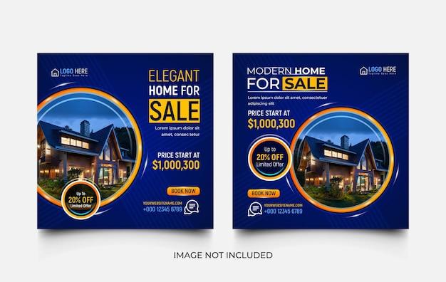 Nowoczesny dom na sprzedaż zestaw szablonów promocji w mediach społecznościowych