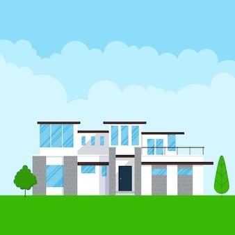 Nowoczesny dom na zewnątrz płaski projekt ilustracji wektorowych