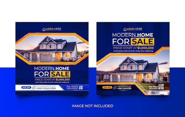 Nowoczesny dom nieruchomości na sprzedaż zestaw szablonów promocji mediów społecznościowych promotion