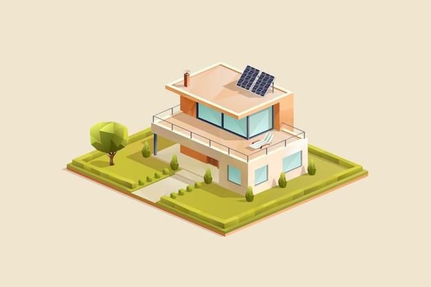 Nowoczesny dom rodzinny z panelami słonecznymi