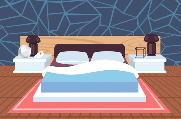 Nowoczesny dom sypialnia wnętrze współczesny łóżko pokój pusty brak ludzi mieszkanie poziome