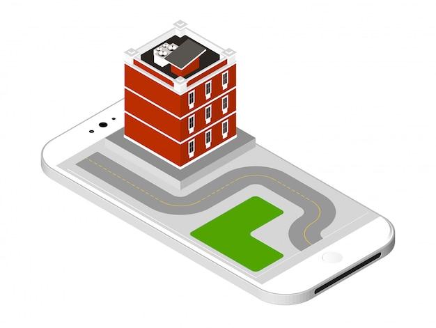 Nowoczesny dom z drogą stojącą na ekranie smartfona. mieszkanie miejskie budynek z oknami i klimatyzacją. ilustracja wektorowa na białym tle