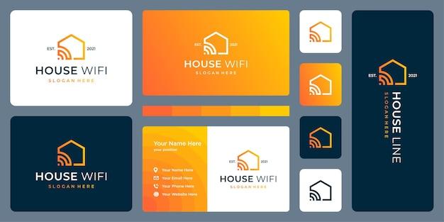 Nowoczesny dom z modelami liniowymi i sygnałowymi. wizytówka.