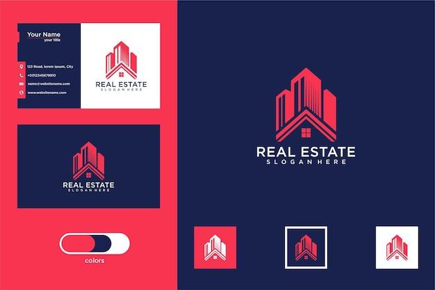Nowoczesny dom z projektem logo budynku i wizytówką