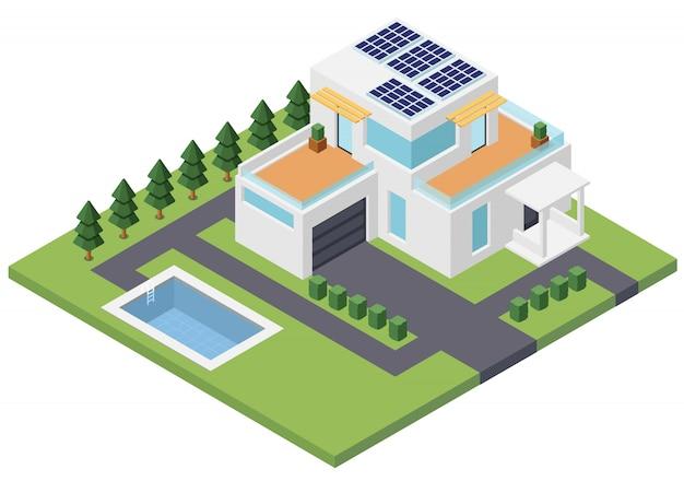 Nowoczesny dom z zasilaniem słonecznym. alternatywna energia. widok izometryczny 3d ilustracji wektorowych na białym tle