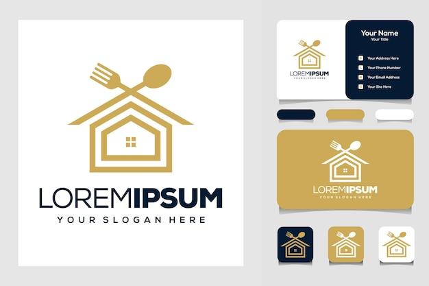 Nowoczesny domowy szablon logo żywności i wizytówka