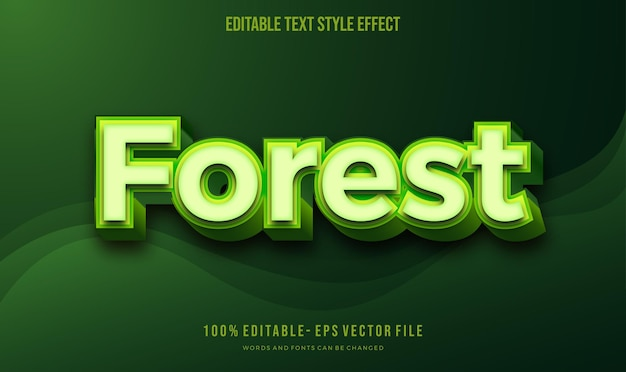 Nowoczesny edytowalny efekt stylu tekstu z edytowalną czcionką wektorową w kolorze zielonym natury