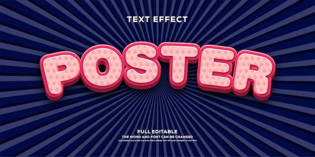 Nowoczesny efekt tekstowy 3d, zaokrąglony i zakrzywiony efekt czcionki