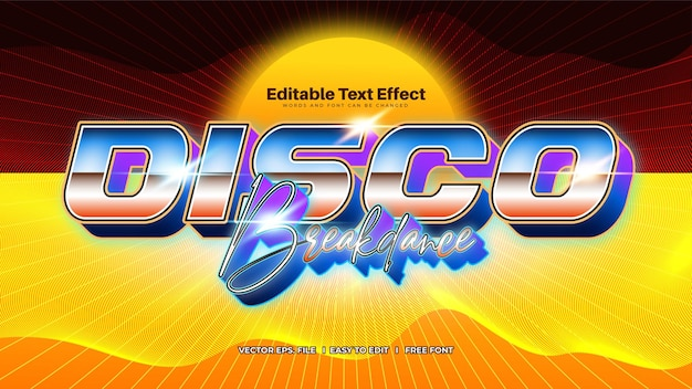 Nowoczesny efekt tekstowy retro disco pop z lat 80.