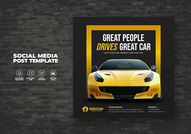 Nowoczesny ekskluzywny wynajem i kup samochód do social media post banner wektor szablon eps