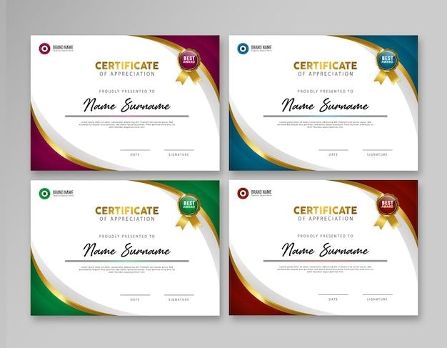 Nowoczesny elegancki luksusowy zestaw szablonów certyfikatów