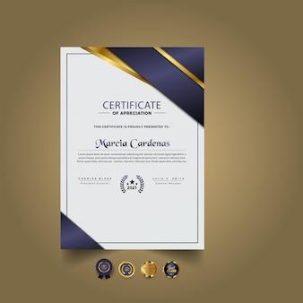 Nowoczesny elegancki szablon certyfikatu