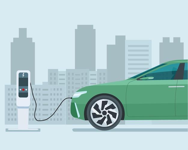 Nowoczesny elektryczny samochód cuv w abstrakcyjnym mieście. samochód pokazany w połowie rozmiaru. ładuje się samochód elektryczny.