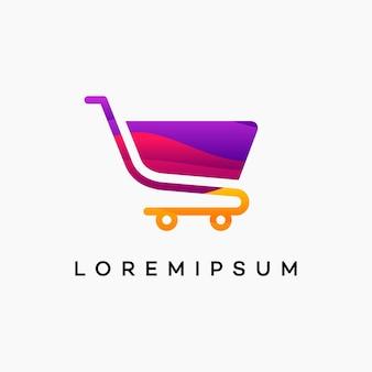 Nowoczesny falisty szablon logo zakupy, symbol logo wózka, ikona symbol logo