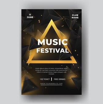 Nowoczesny festiwal muzyczny szablon ulotki