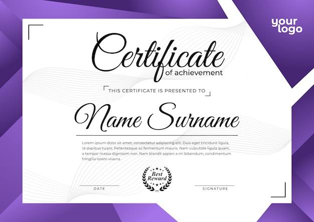 Nowoczesny fioletowy szablon certyfikatu