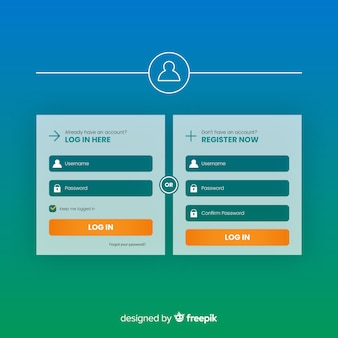 Nowoczesny formularz formularza rejestracyjnego o płaskiej konstrukcji