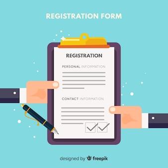 Nowoczesny formularz rejestracyjny o płaskiej konstrukcji