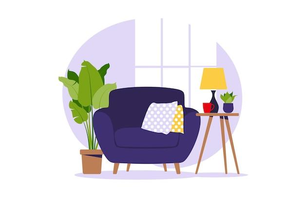 Nowoczesny fotel z mini stolikiem. wnętrze salonu z meblami. płaski styl kreskówki. ilustracja.
