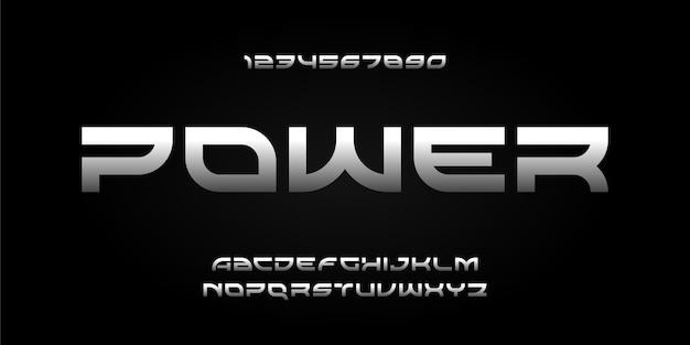 Nowoczesny futurystyczny alfabet styl miejski typografia czcionki
