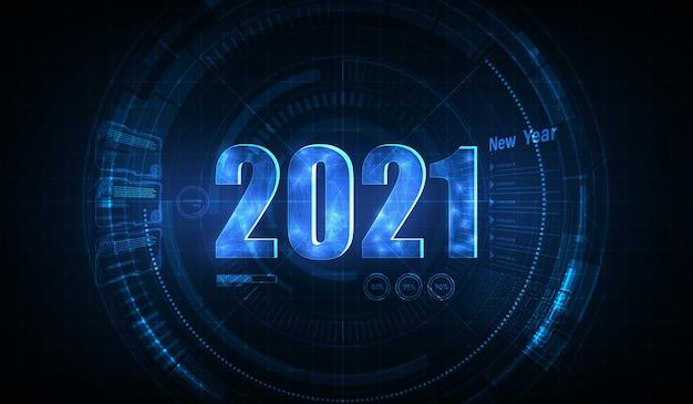 Nowoczesny futurystyczny szablon technologii na 2021 rok. nowy rok 2021 w stylu hud, gui.