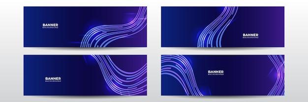 Nowoczesny futurystyczny transparent technologii. niebieski streszczenie wektor biznes długi transparent szablon. biznes minimalne tło z ramą koło półtonów. tech wektor szablon transparentu dla mediów społecznościowych, strony internetowej.