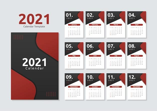 Nowoczesny geometryczny szablon kalendarza 2021