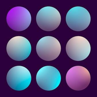 Nowoczesny gradient 3d zestaw z okrągłymi abstrakcyjnymi tłami