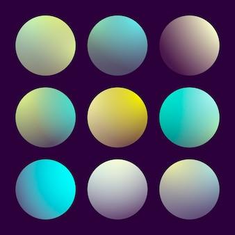 Nowoczesny gradient 3d zestaw z okrągłymi abstrakcyjnymi tłami.