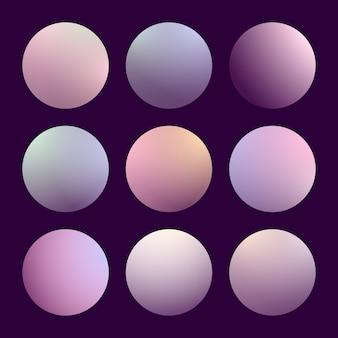 Nowoczesny gradient 3d zestaw z okrągłymi abstrakcyjnymi tłem. kolorowe osłony na płyn