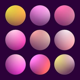 Nowoczesny gradient 3d zestaw z okrągłymi abstrakcyjnymi tłem. kolorowy płyn