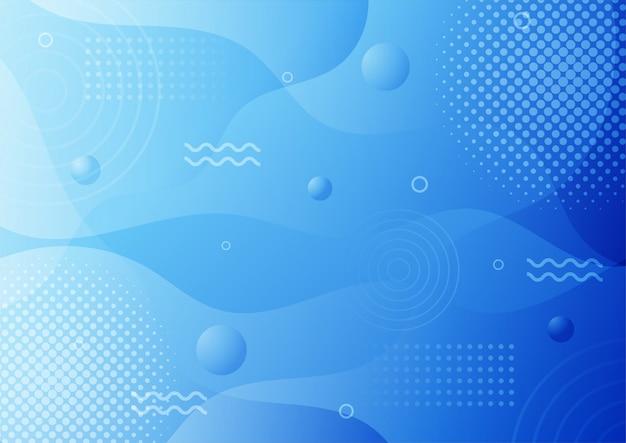 Nowoczesny gradient niebieski streszczenie styl memphis z geometrycznym tłem.