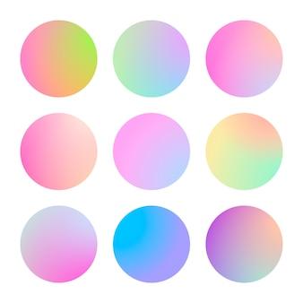 Nowoczesny gradient zestaw z okrągłymi abstrakcyjnymi tłami. kolorowa, płynna osłona