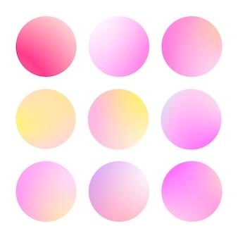 Nowoczesny gradient zestaw z okrągłymi abstrakcyjnymi tłami. kolorowe osłony na płyn