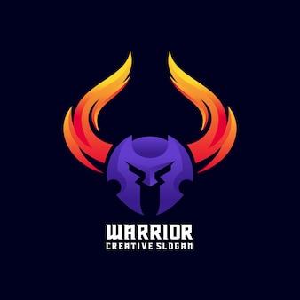 Nowoczesny gradientowy szablon logo wojownika wikingów