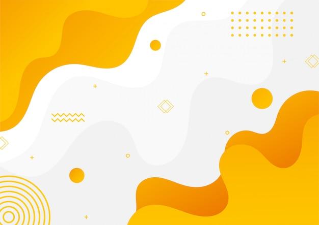 Nowoczesny gradientowy żółty abstrakcyjny styl memphis z geometrycznym tłem.