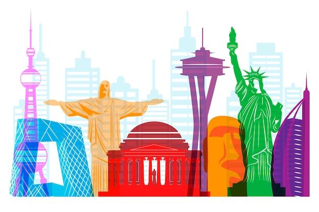 Nowoczesny gród panoramę kolorowy design