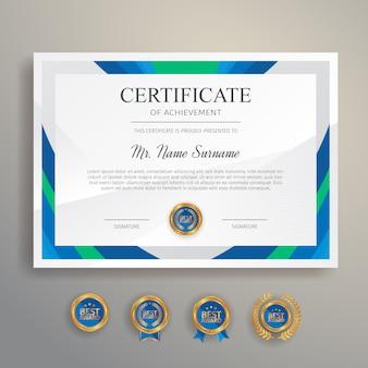 Nowoczesny i czysty certyfikat w kolorze niebieskim i zielonym ze złotą odznaką i szablonem granicy