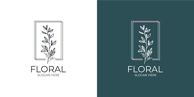 Nowoczesny i minimalistyczny kwiatowy zestaw logo