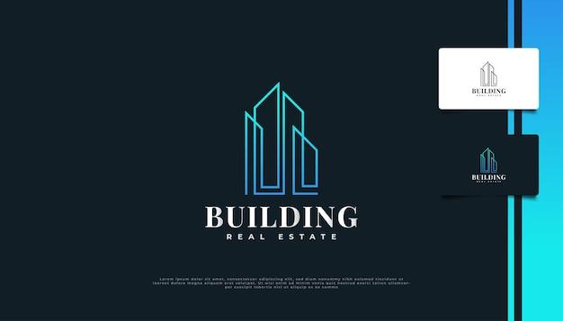 Nowoczesny i minimalistyczny projekt logo nieruchomości w niebieskim gradiencie ze stylem linii.