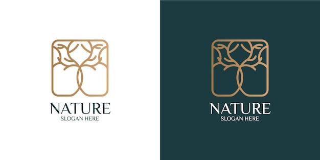 Nowoczesny i minimalistyczny zestaw logo drzewa